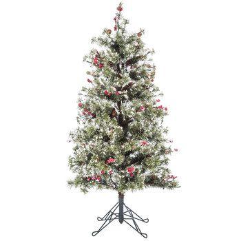 Fast Shape Snow Needle Pine Pre-Lit Christmas Tree - 4.5'