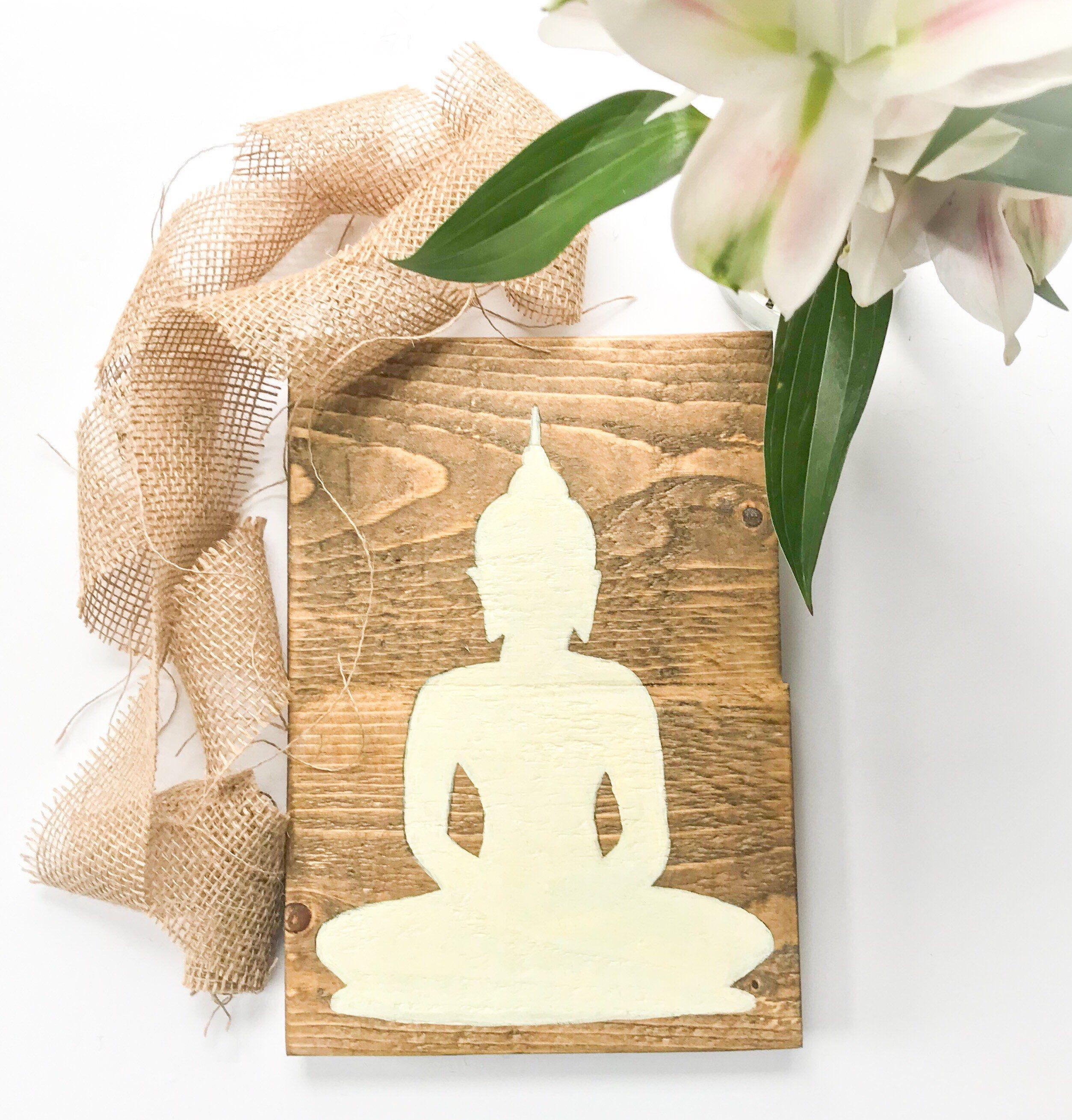 Rustic Wood Buddha Wall Decor Meditation Sign Handmade Sign Etsy Buddha Wall Decor Peace Wall Art Buddhist Decor