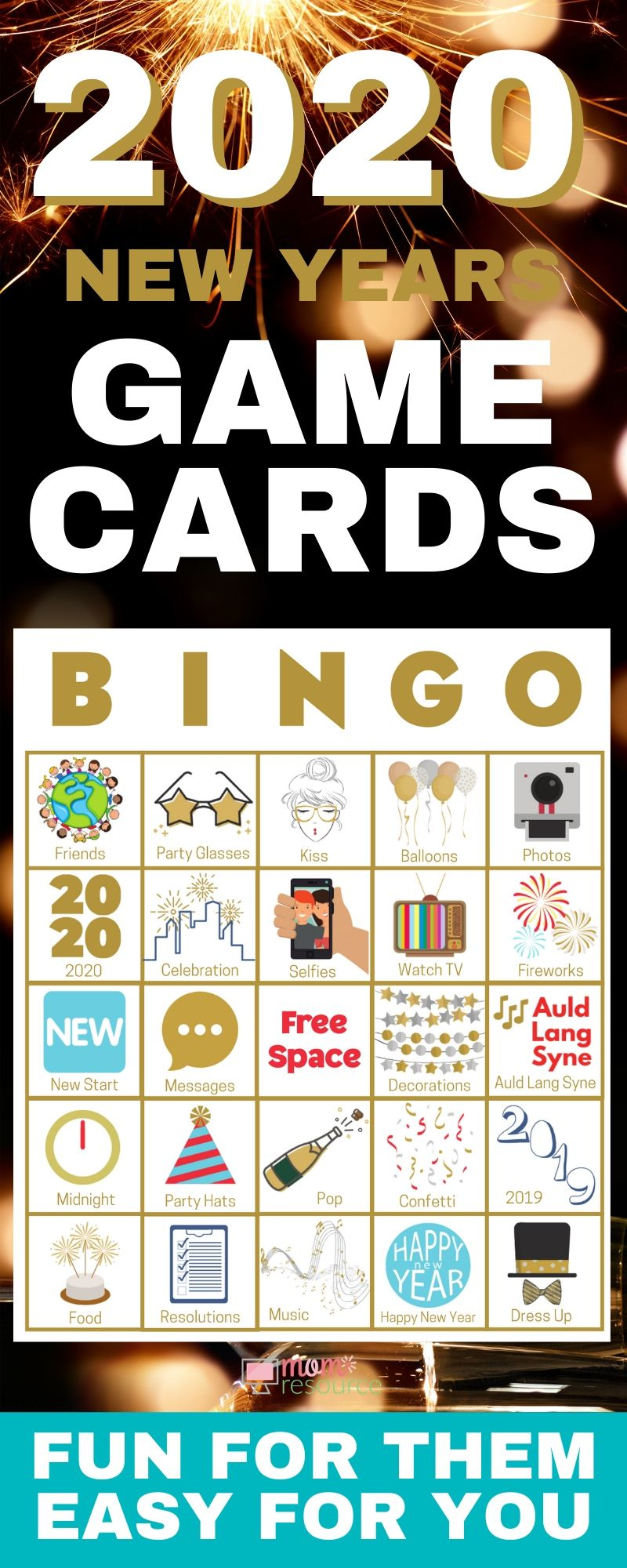 New Years Even bingo cards easy to play, modern & fun