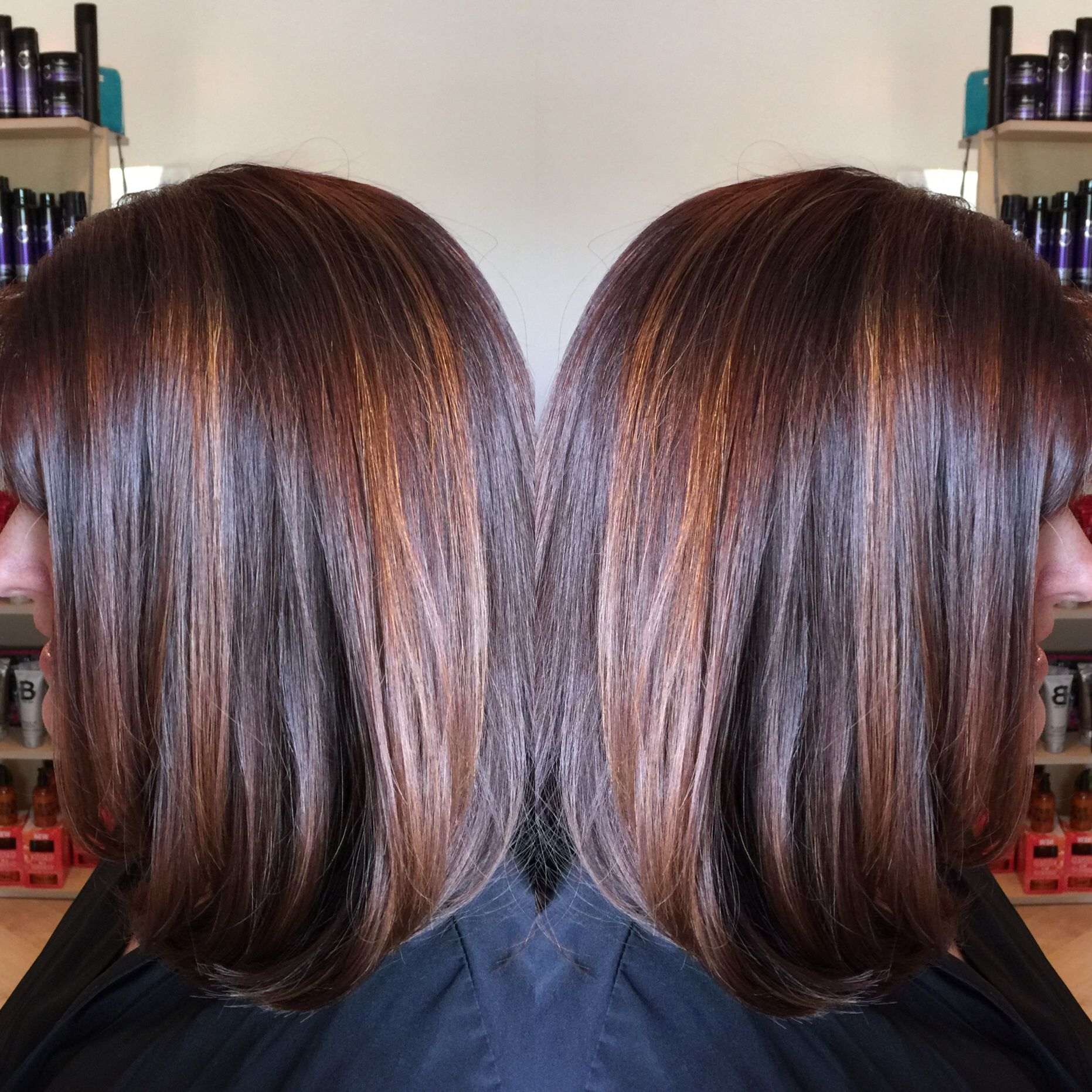 Dark red brown base with penny copper highlights Long bob By