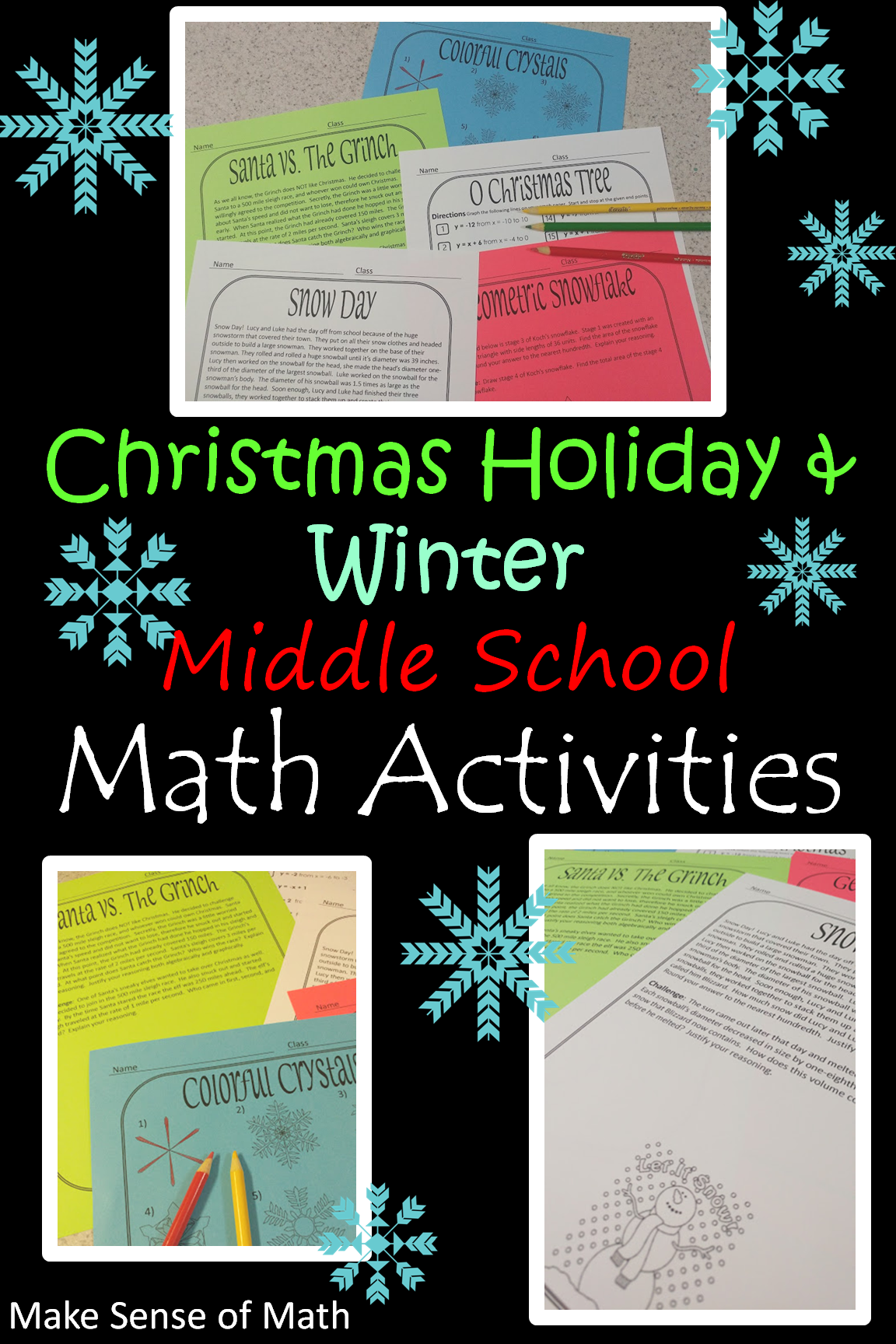 christmas holiday winter middle school math activities make sense of math math activities. Black Bedroom Furniture Sets. Home Design Ideas