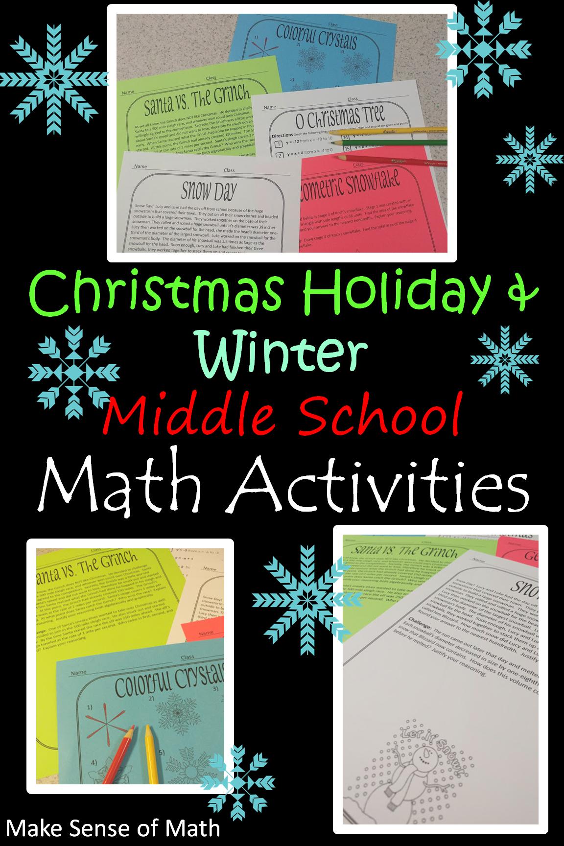 Christmas Math Activities Middle School