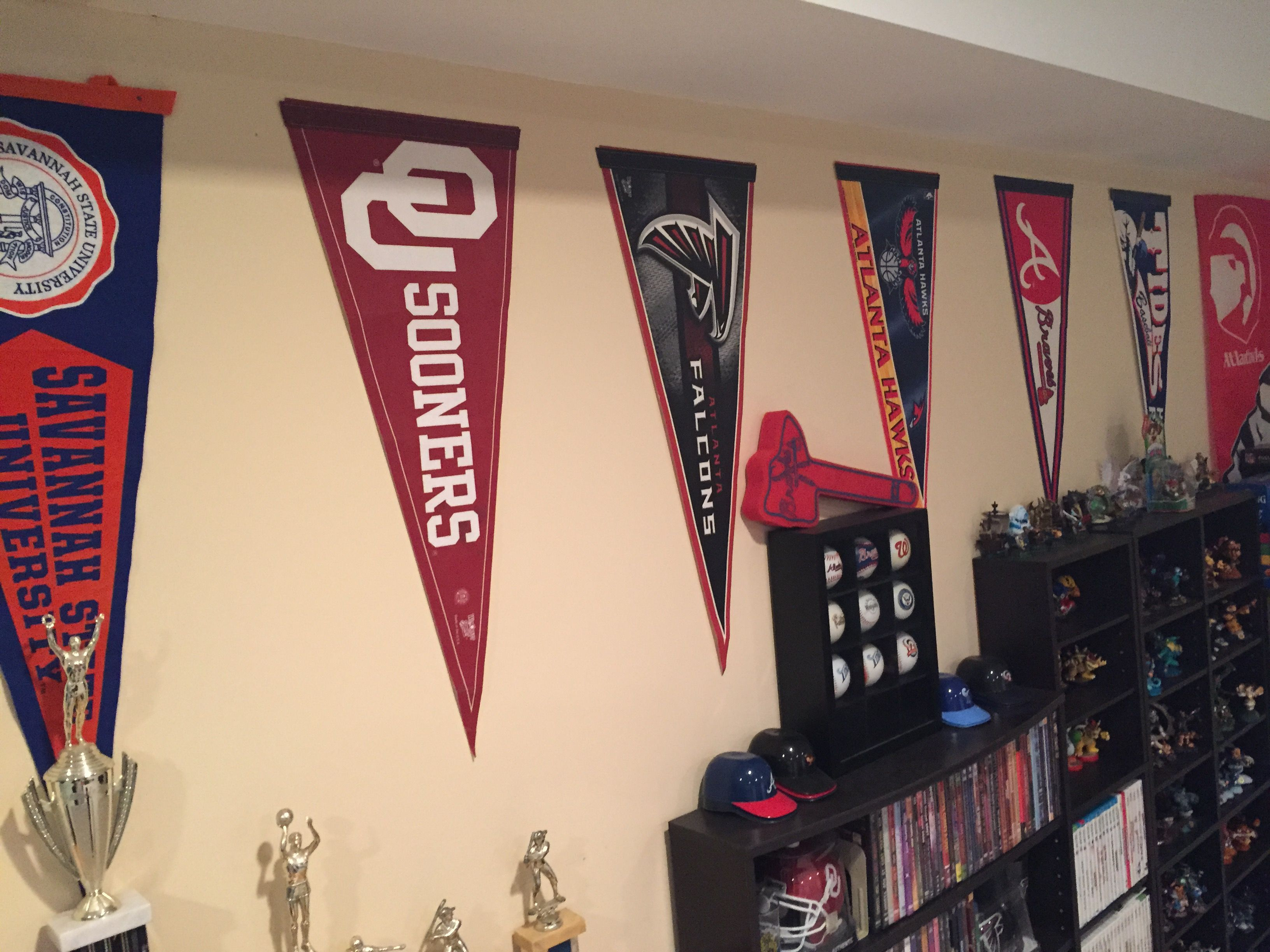 Man Cave Pennant Display Pennants From My Favorite Sports Teams Line My Man Cave Wall Man Cave Wall Office Items Man Cave