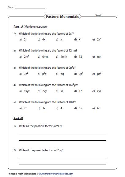 Factors Of Monomials Factoring Polynomials Polynomials Quadratics