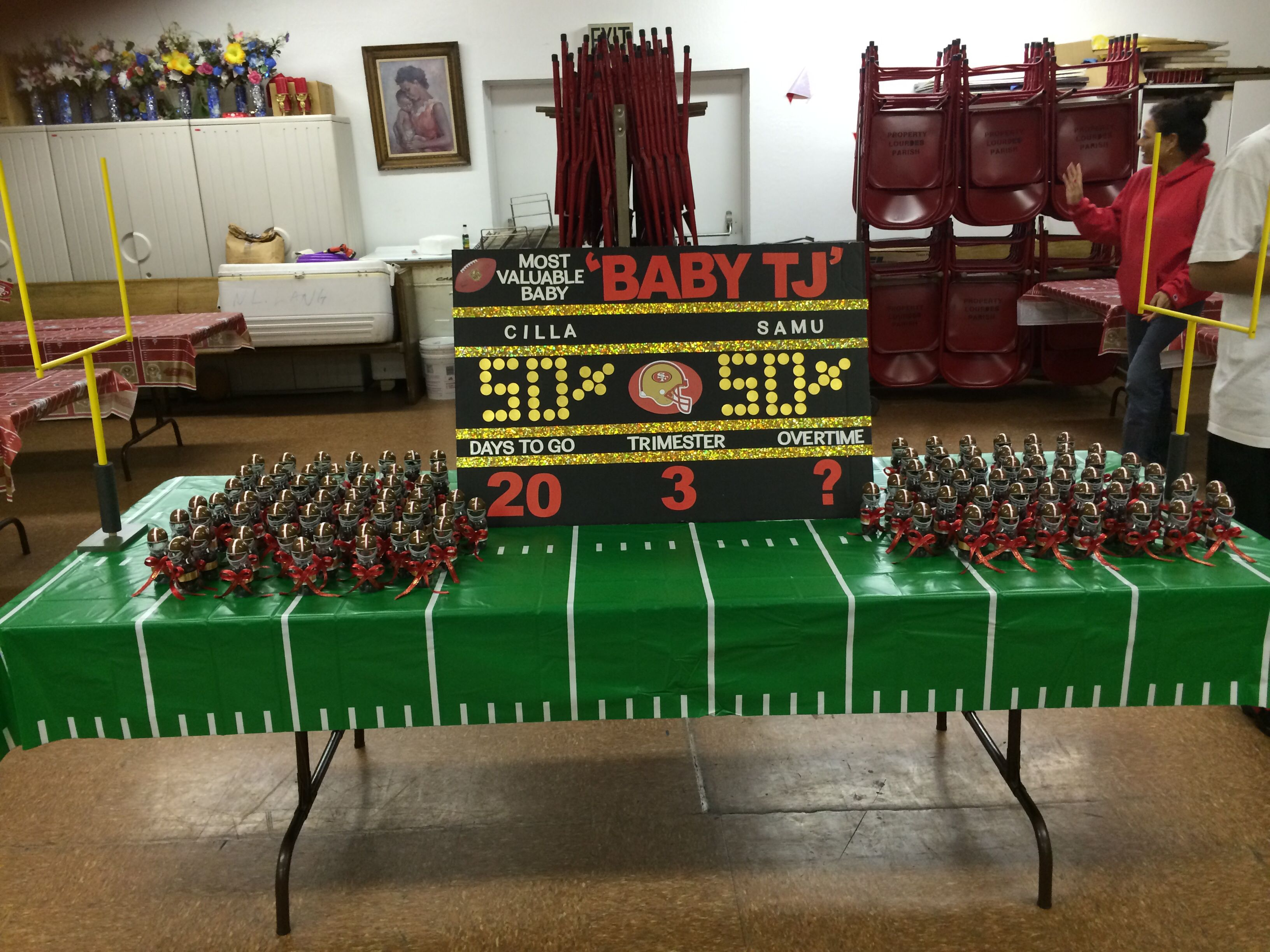 49er themed baby shower scoreboard and party favors for 49ers bathroom decor