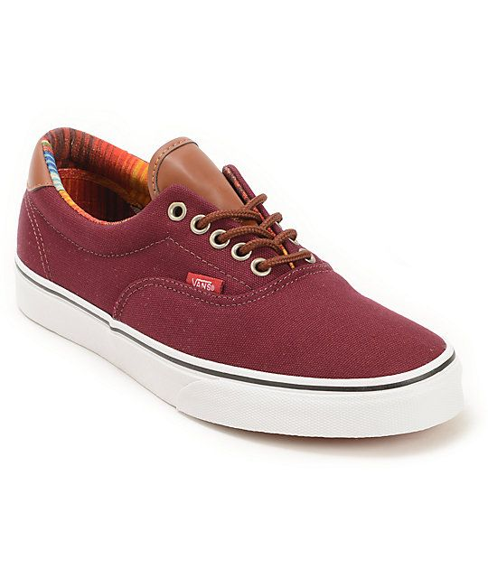 beae400137 The Era 59 from Vans featuring an all canvas upper in dark maroon Port  Royale red