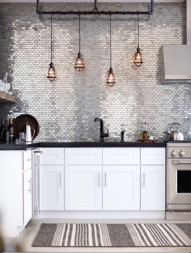 Stainless steel tiles under island | New home | Pinterest ...