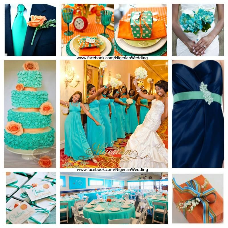 Cyan, Navy blue and orange wedding color scheme | Wedding themes ...