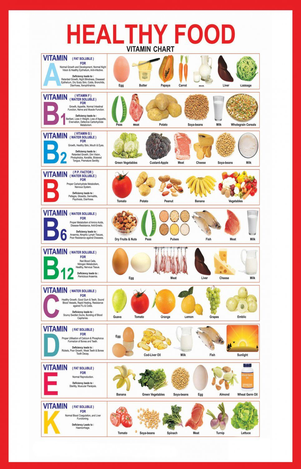 Healthy Food Vitamin Infographic Chart 18