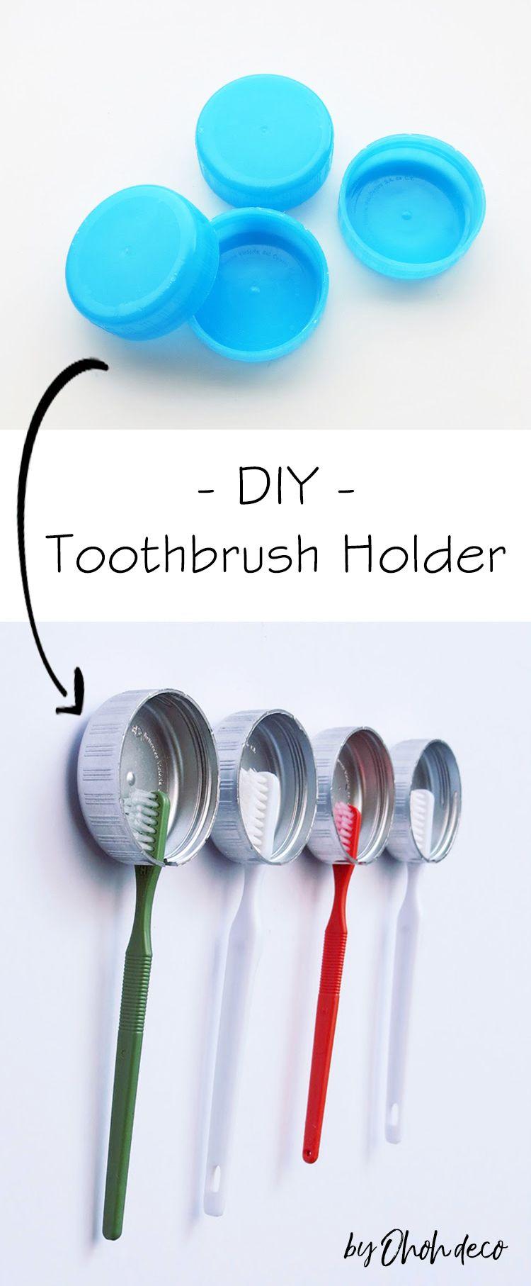 Use Plastic Caps To Make A Diy Toothbrush Holder So Easy And Practical Diy Bathroom Storage Toothbrus Diy Toothbrush Holder Diy Toothbrush Brushing Teeth