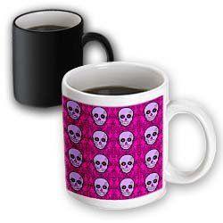 Día de los Muertos Sugar Skull Print Purple Pink - 11oz Magic Transforming Mug