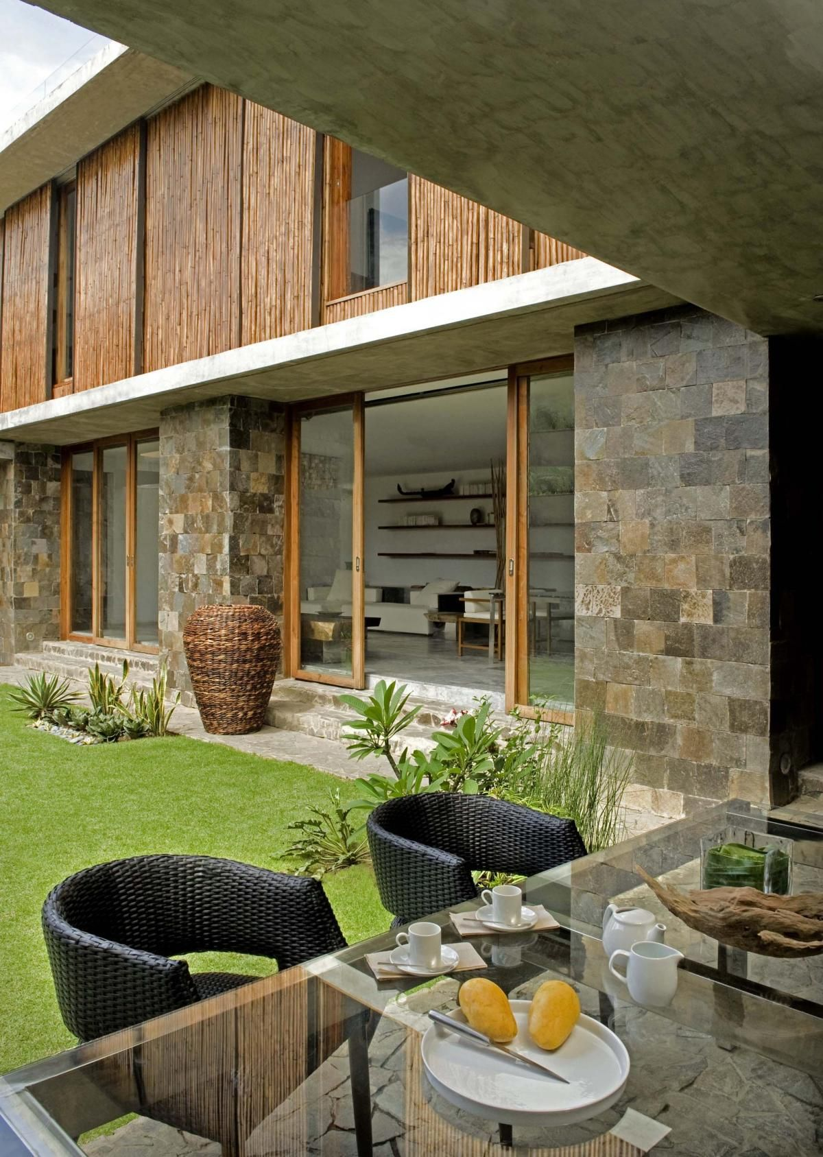 Sumptuous Wall Decoration with Natural Stones as Interesting French CountryHome Design Exterior Colored in White