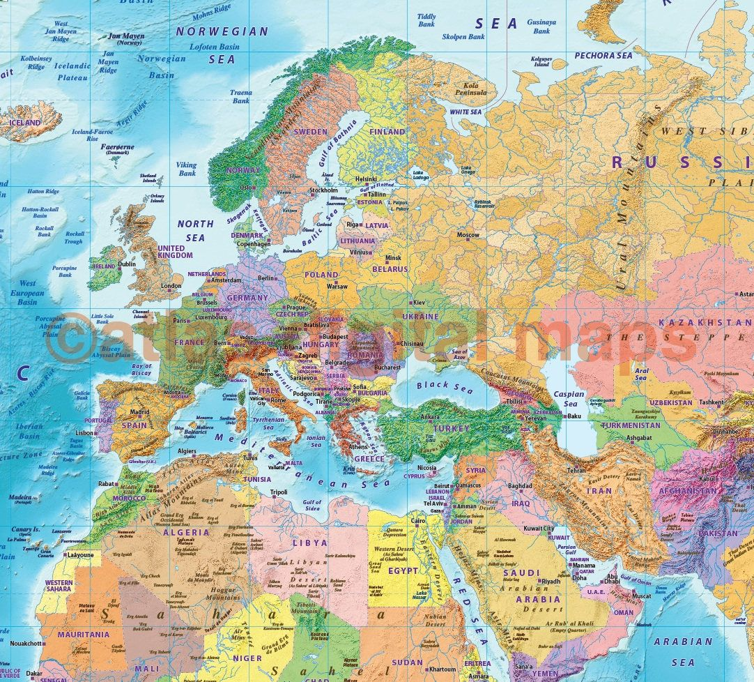 World Map Canvas - Political Coloured Relief with Bold Text ...