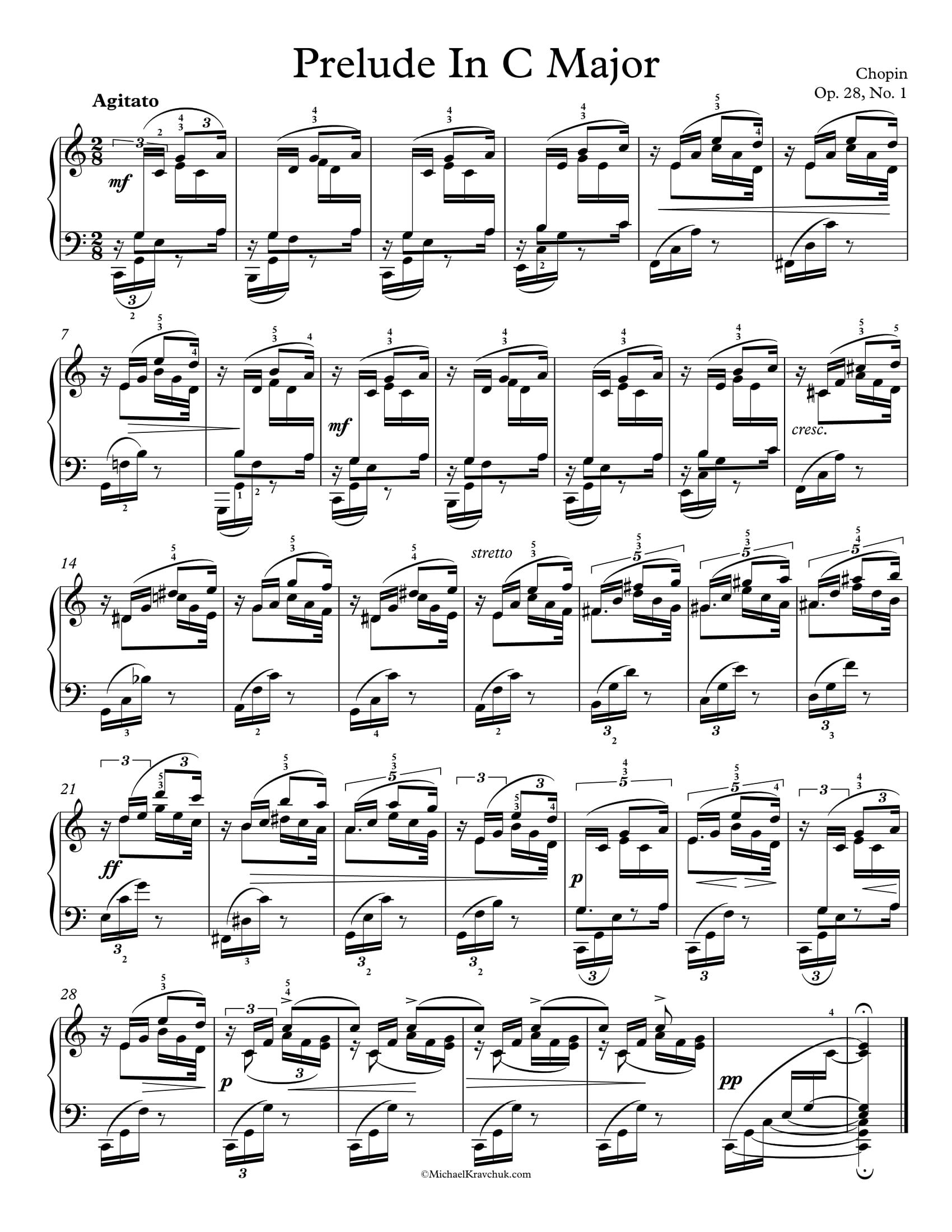 Free Piano Sheet Music Plelude In C Major Op 28 No 1