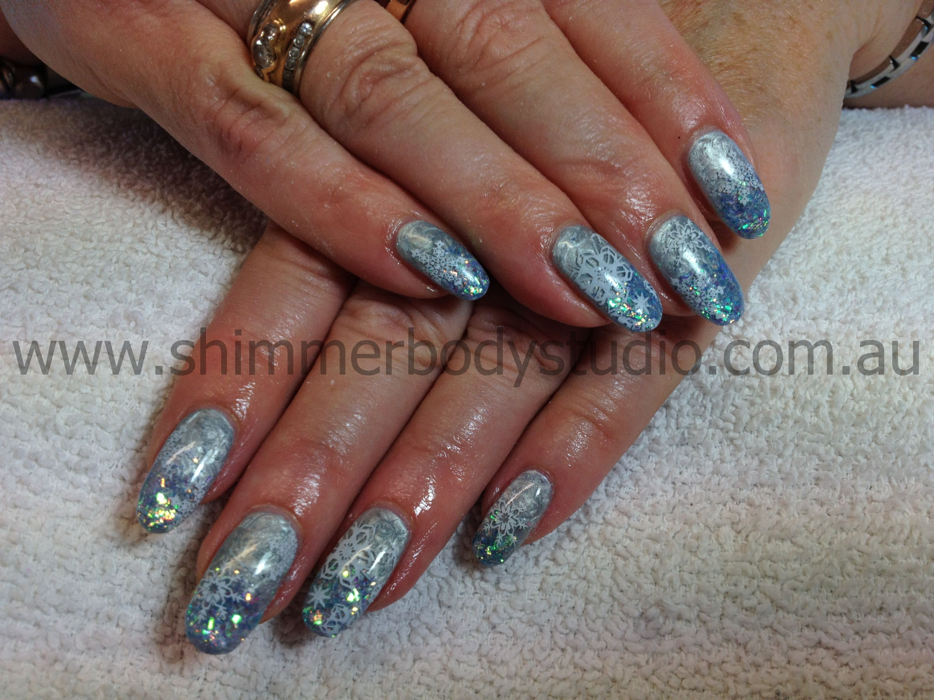 Gel nails, Christmas nails, blue gel, glitter, Konad Stamping Nail ...