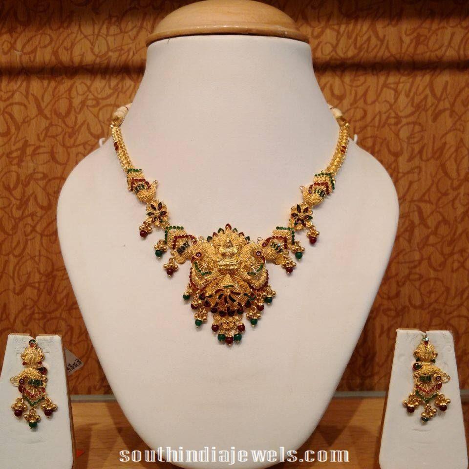Gold Lakshmi mini necklace set | harams | Pinterest | Minis and Gold