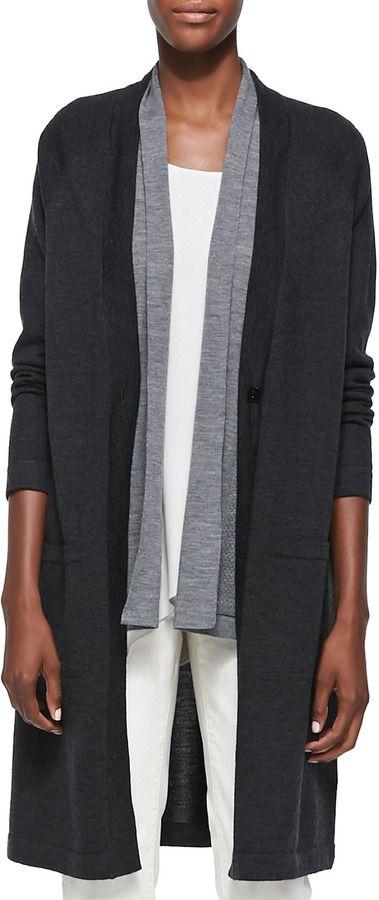 c8b29ffe23f Eileen Fisher Merino Wool Long Sleeve Cardigan, Charcoal on shopstyle.com