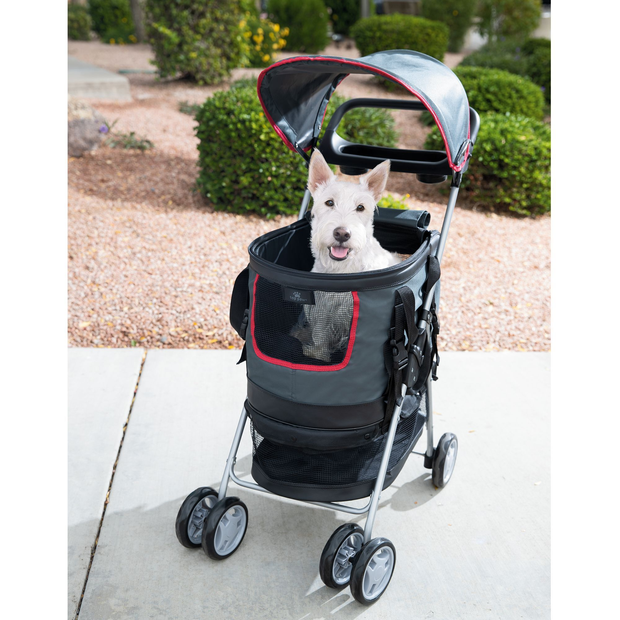 Top Paw 3in1 Pet Stroller, black/grey/red Pet stroller