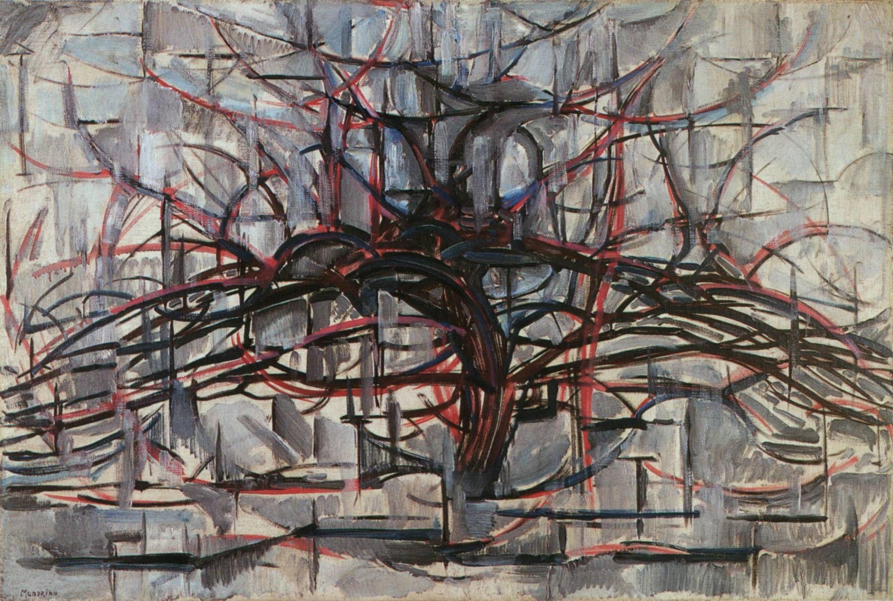 Piet Mondrian's abstract trees art painting Пит мондриан