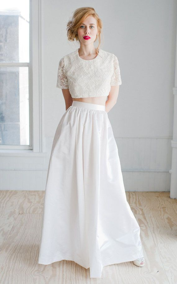 2 piece wedding dresses crop top and skirt