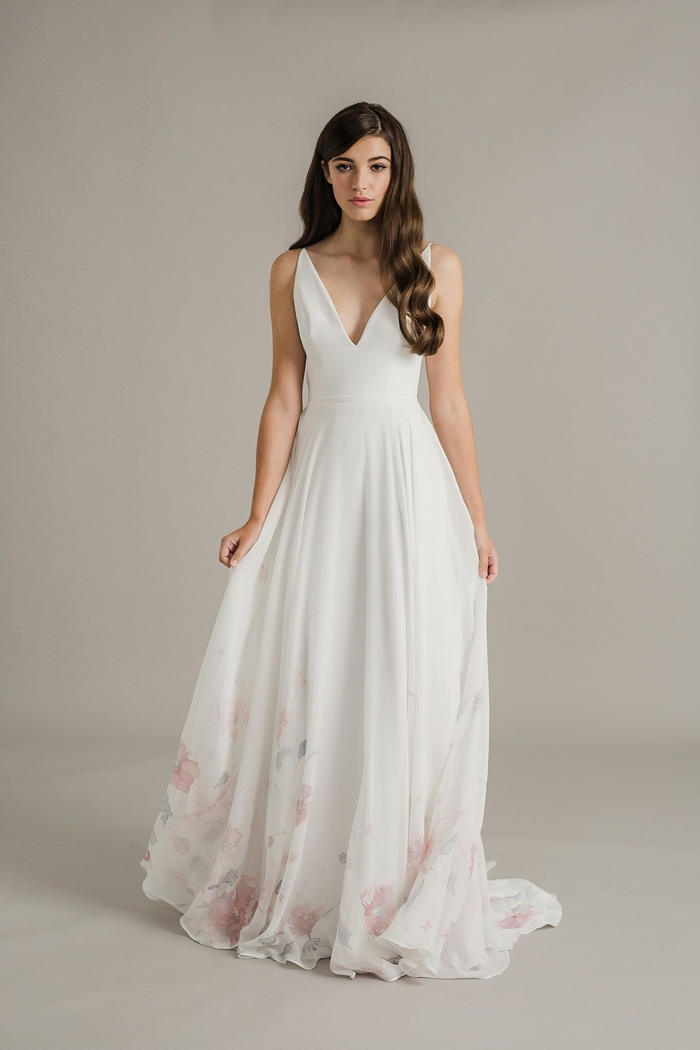 Flower print wedding gown  Sally Eagle Wedding Dress Collection  Dusk  The oujays