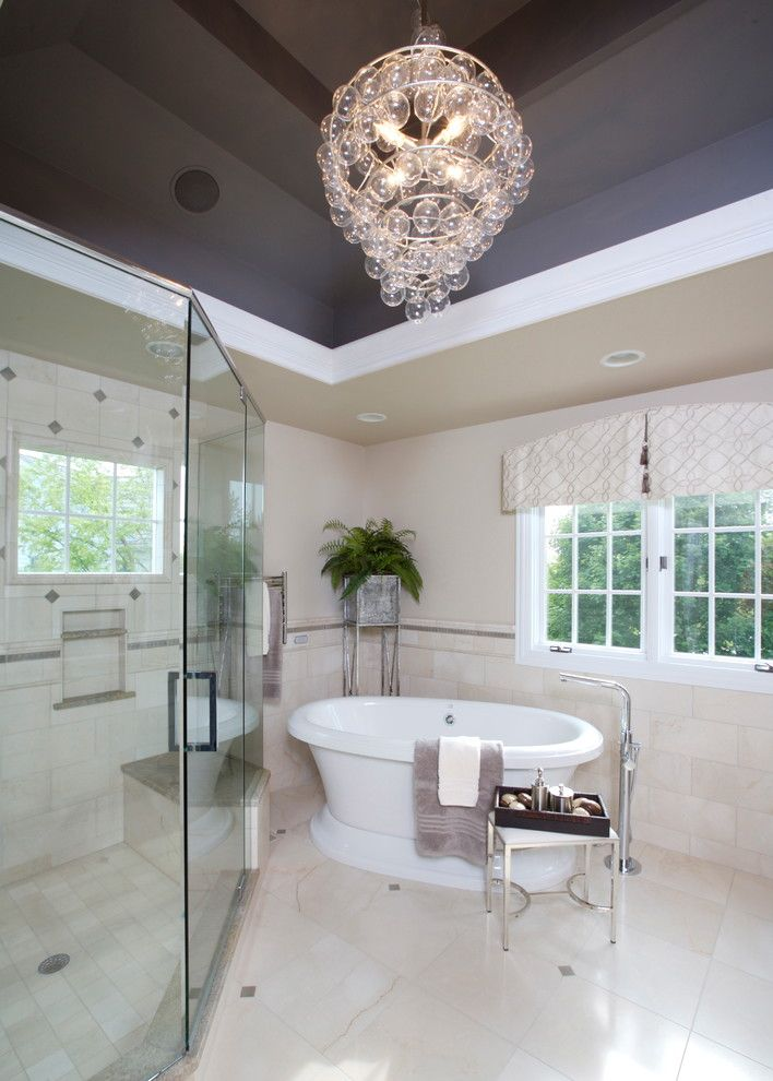 Modish Bathroom Lighting Ideas With Modern Concept: Bubble Chandelier Bathroom Eclectic With Accent Ceiling