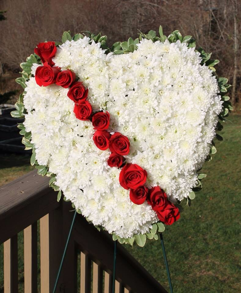 Bleeding heart sympathy floral arrangement Sympathy