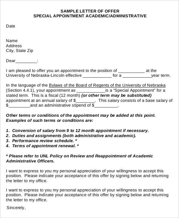 Simple Special Appointment Offer Letter Format Company Template