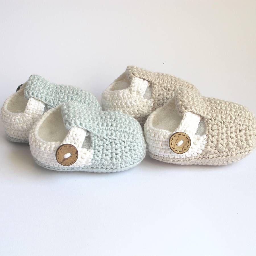 Hand Crochet T Bar Baby Shoes | Babyschühchen, Häkeln und Stricken