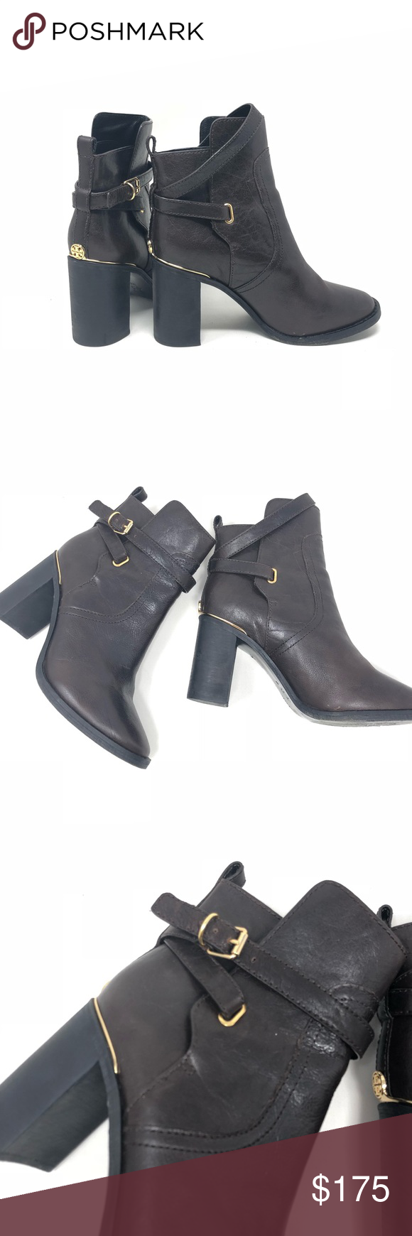 8062bc103f34a6 Tory Burch Brown Leather Ankle Booties Boots 7 BRAND  Tory Burch SIZE  7  CONDITION