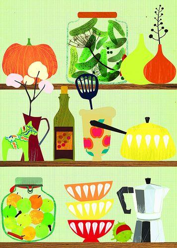 Kitchen Shelf 02 Tea Illustration Prints Book Art