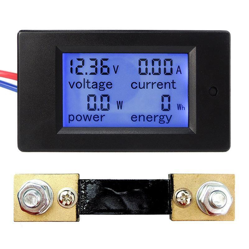 DC 6.5-100V LCD Voltmeter Ammeter Volt Amp Power Kwh Panel Meter with Shunt