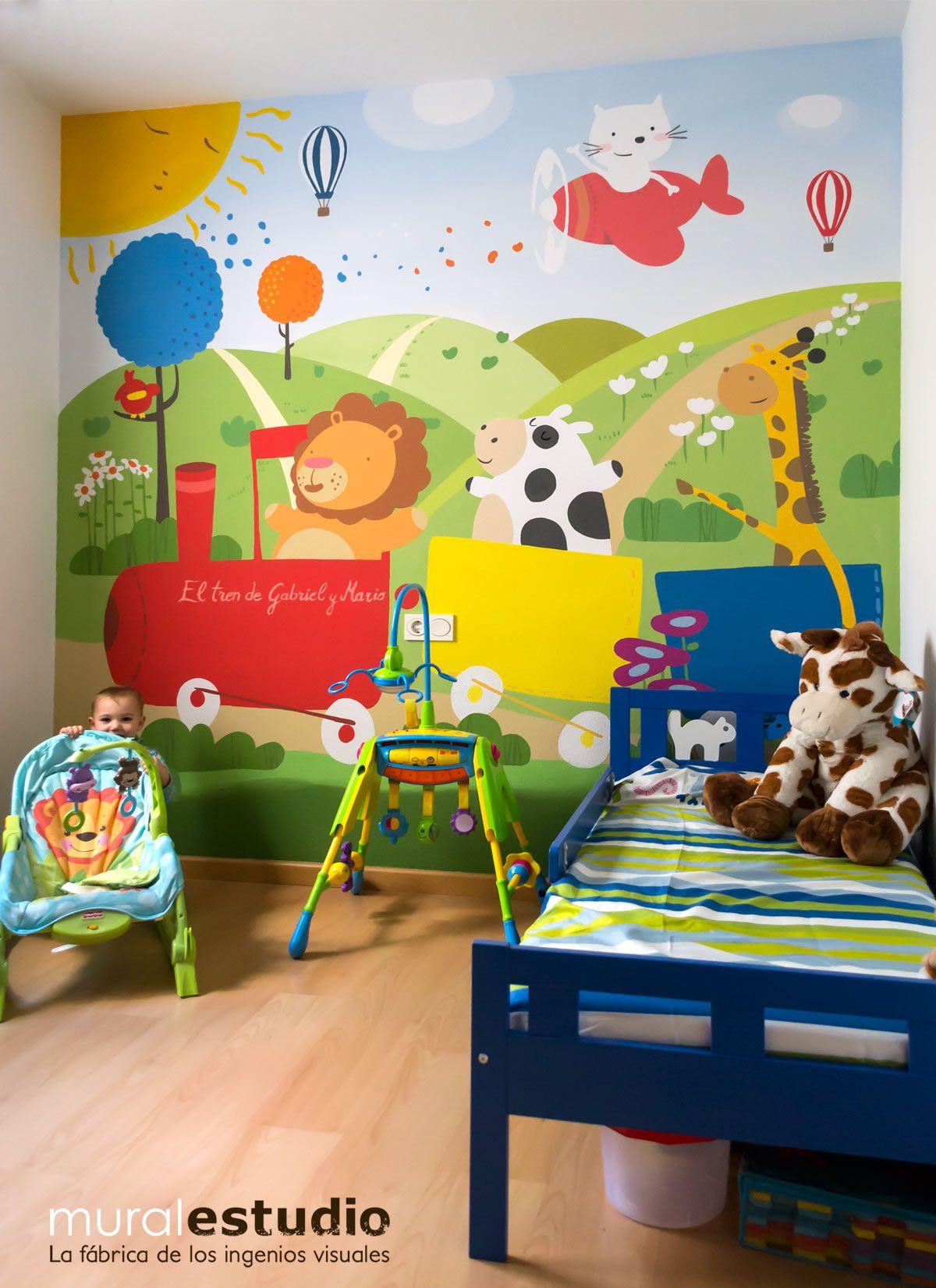 Mural infantil pintado en murcia interiores pinterest for Murales para decoracion de interiores
