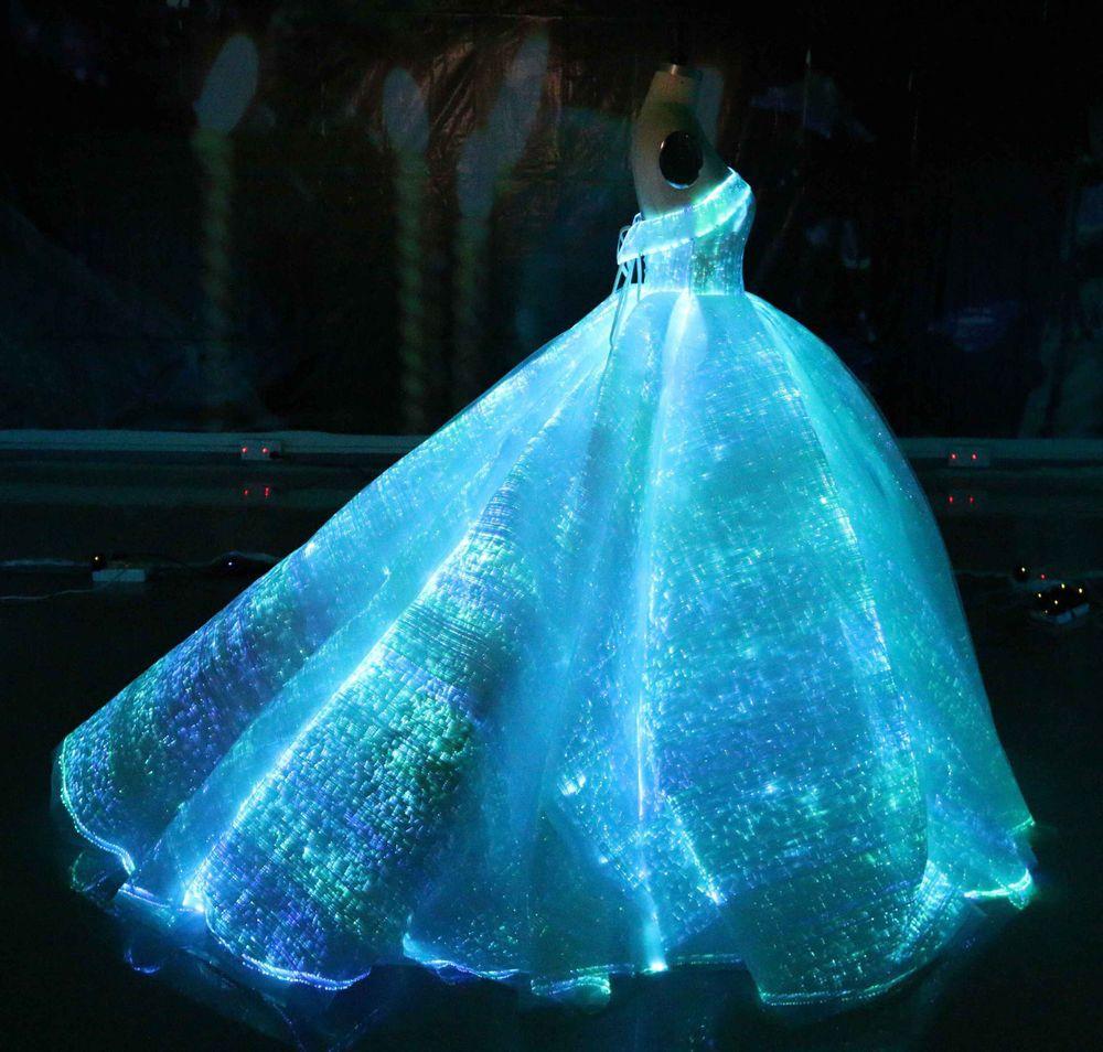 Fiber Optic Wedding Dress Rgb Led Light Up Wedding Gown