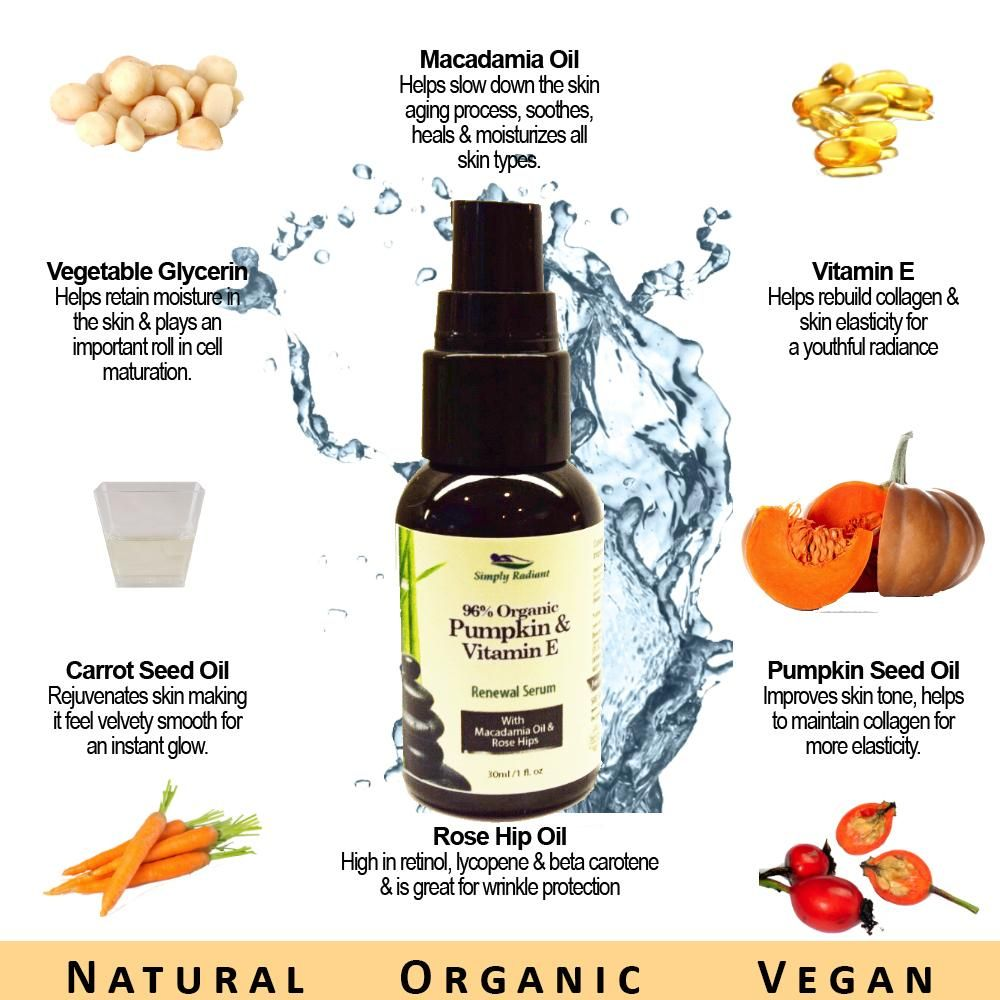Organic Pumpkin & Vitamin E, Macadamia Oil, and Carrot Seed willmake your skin feel velvety smooth and give you an instant glow.Packed with regenerative nutrients, will leave you with a complexion that is radiant, smooth, and most important, healthy. This is great as a face/neck serum or an under eye serum.  $24.95 Simply Radiant Organic Skin Care  Find us on our shopify of etsy websites :)  ETSY:  https://www.etsy.com/listing/232533736