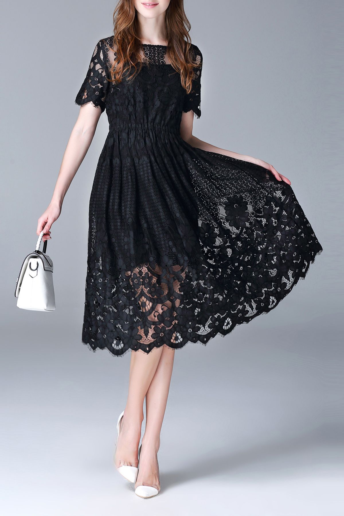 Boat neck lace dress with tank top black laces lace dress and