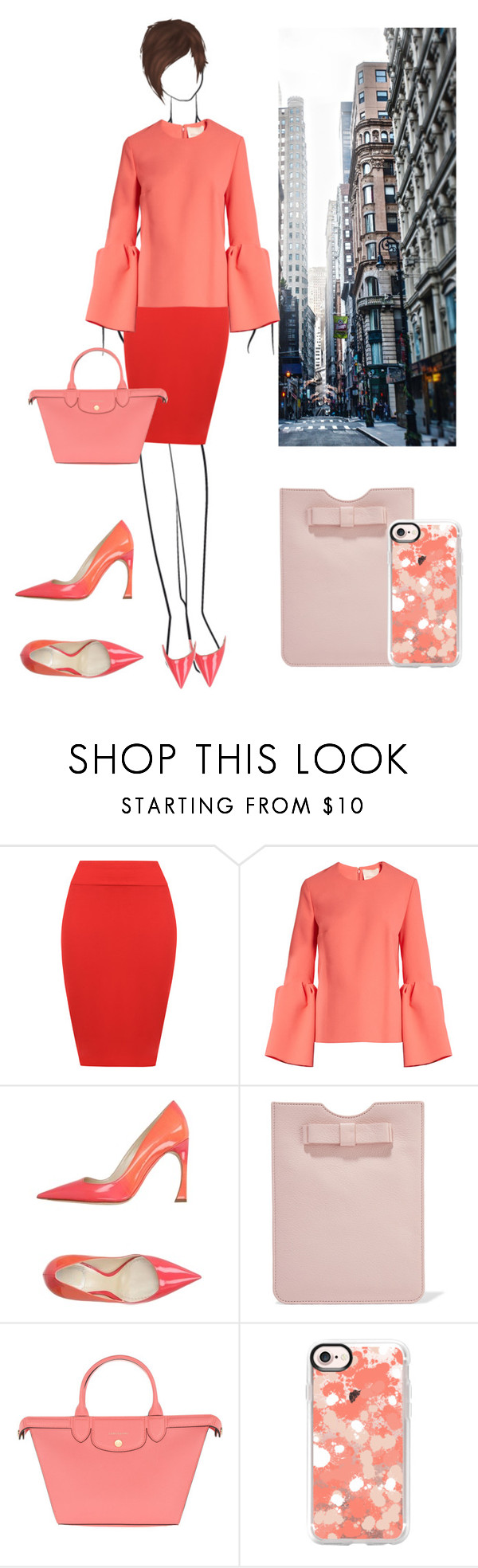 """Girl Boss: Coral and Red"" by loewenangel ❤ liked on Polyvore featuring WearAll, Roksanda, Christian Dior, RED Valentino, Longchamp, Casetify, red, coral, 37 and GIRLBOSS"