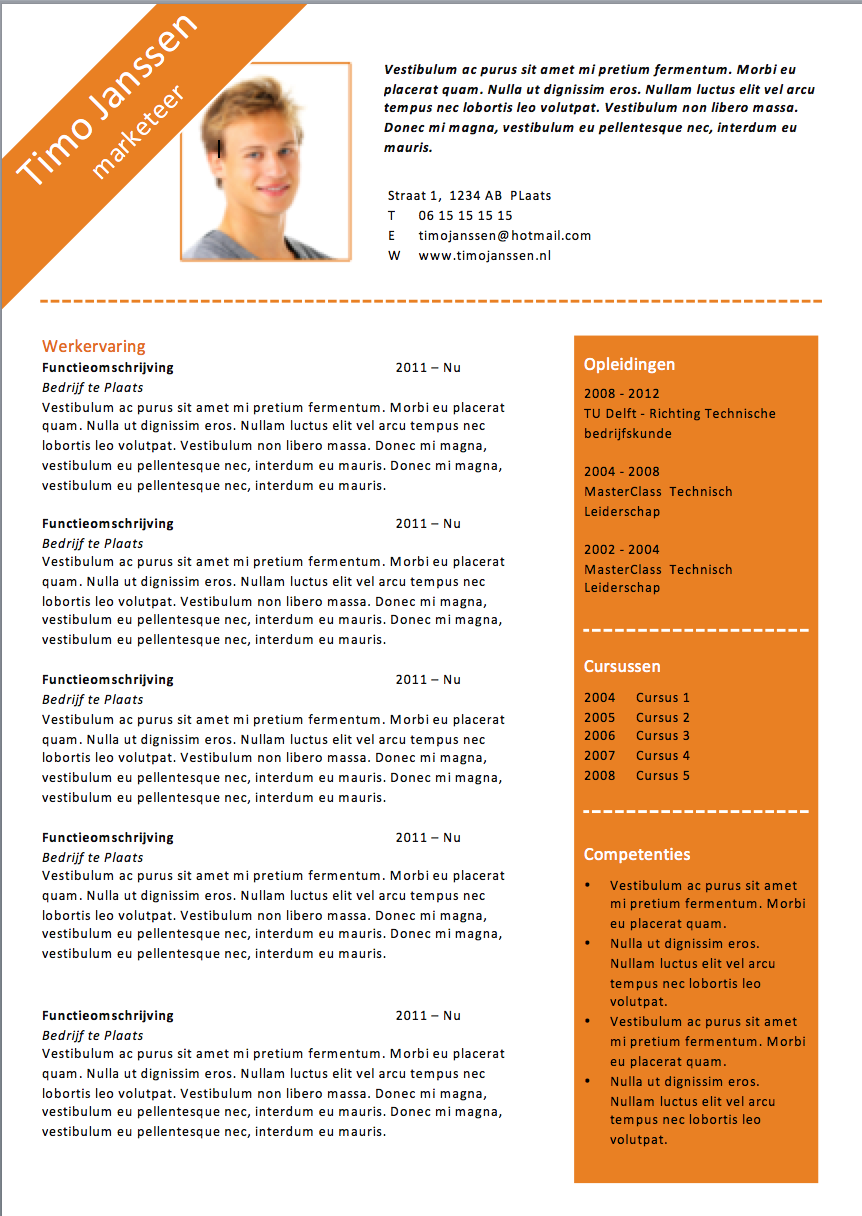 CV sjabloon MS Word | CV sjablonen van Lifebrander | Pinterest
