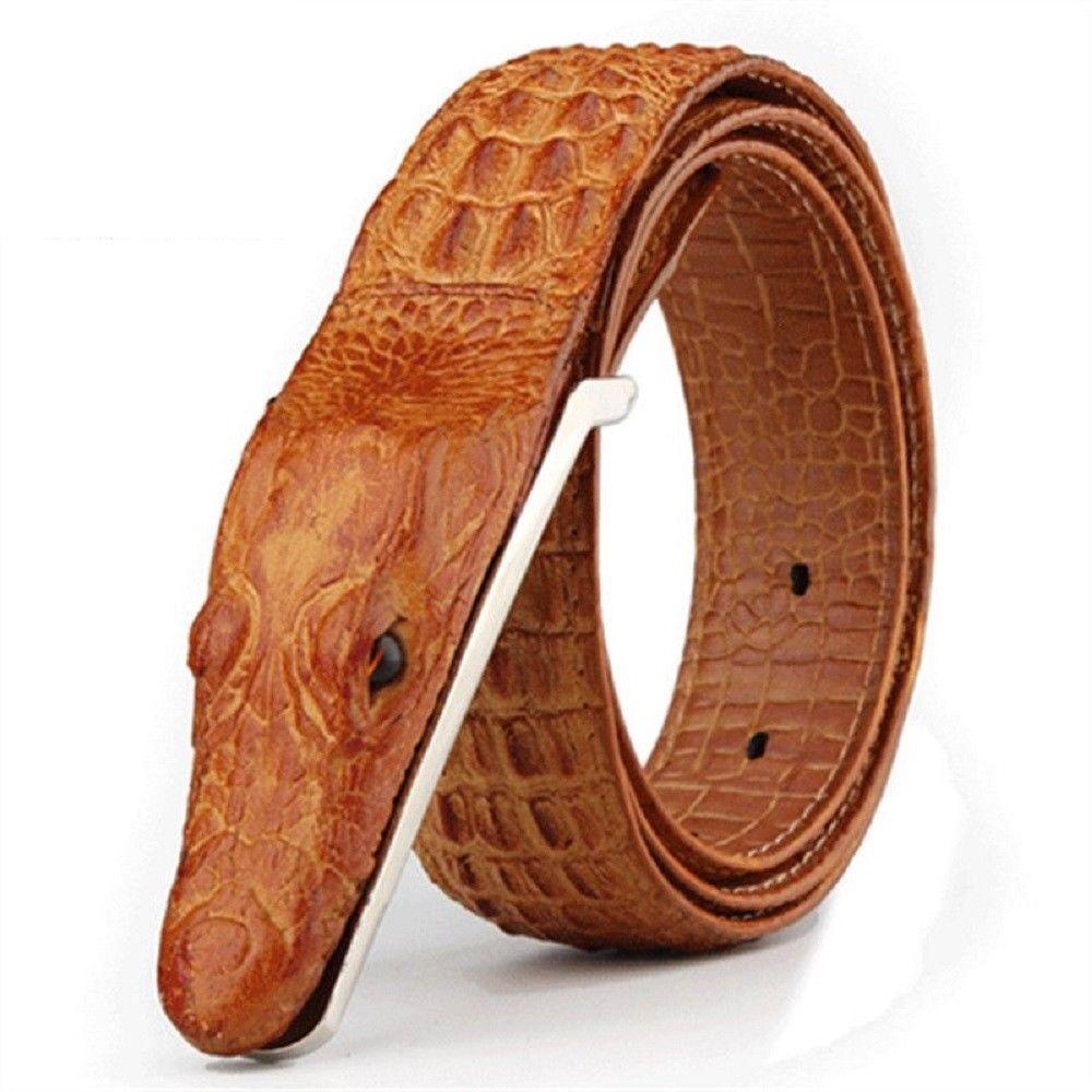 Men Crocodile Head Genuine Cow Leather Belt s Fashion Adjustable Strap  Aligator  SANVITALEChina  NoveltyFashionBelt 5355952d23