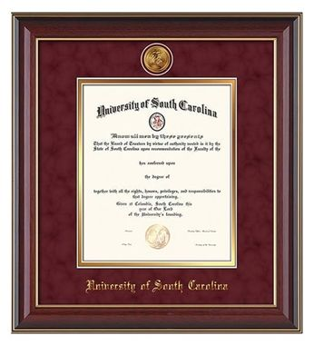 University Of South Carolina Diploma Frame This Cherry Lacquer Diploma Frame Features 24k Gold Plated Medalli Diploma Frame University Of South Carolina Frame