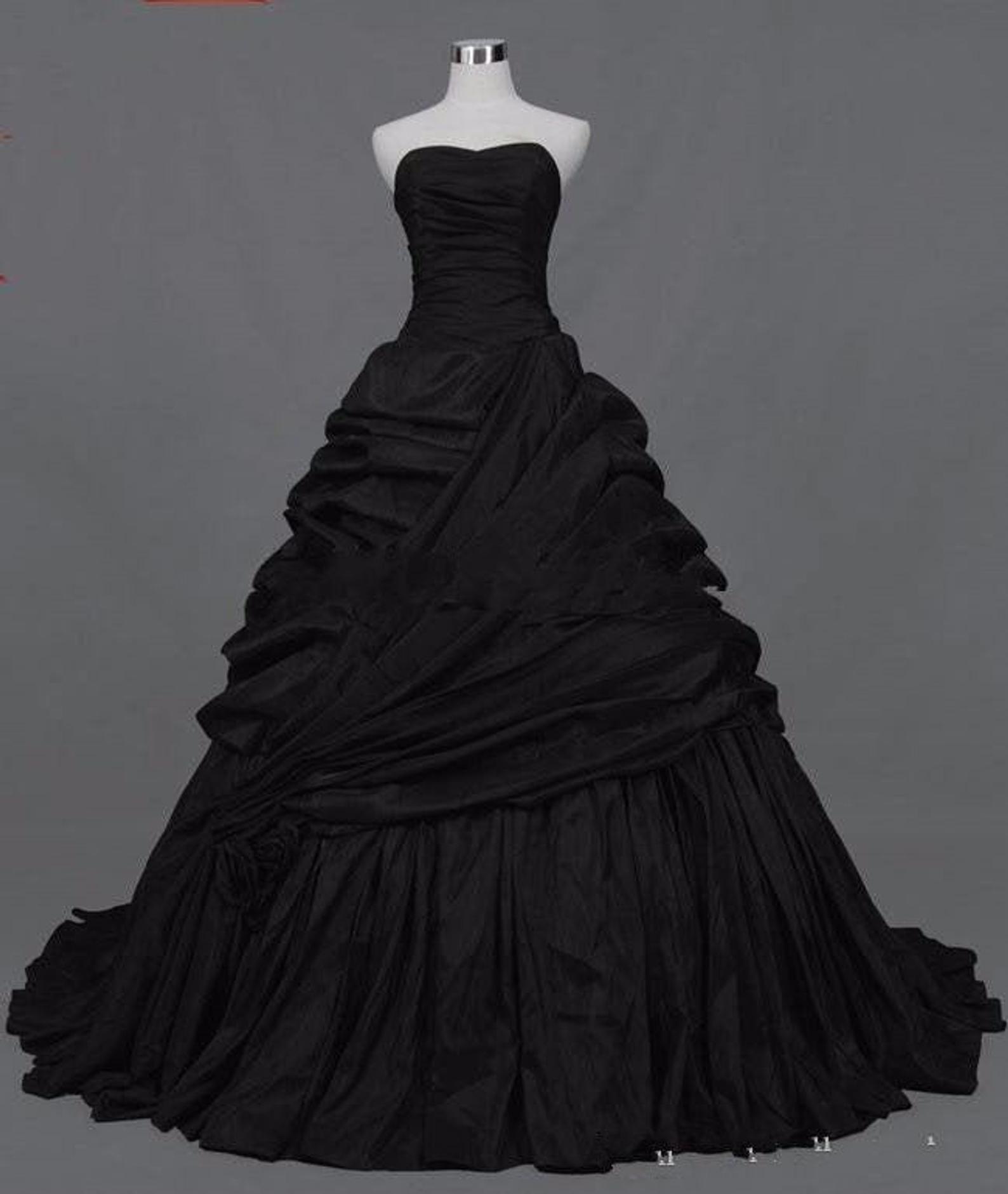 Gothic Victorian Black Wedding Dresses Sweetheart Corset Back Taffeta Bridal Gowns Black Wedding Dress Gothic Black Wedding Gowns Gothic Wedding Dress [ 1881 x 1588 Pixel ]