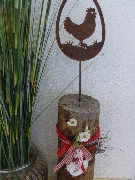 Holzpfosten Deko osterdeko huhn auf baumstamm leroe auf dawanda com holzpfosten