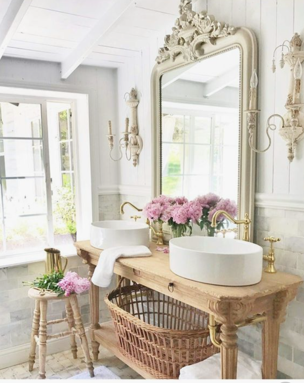 The 15 Most Beautiful Bathrooms On Pinterest Sanctuary Home Decor French Cottage Bathroom Country