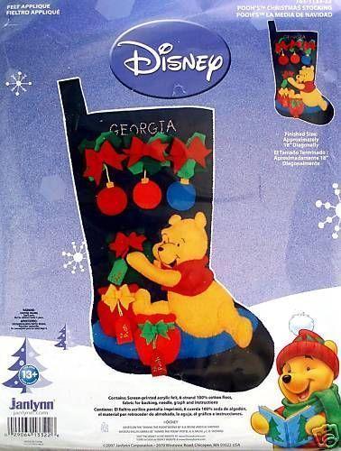 POOH Christmas Stocking Kit ~ Disney Winnie Holiday Felt Applique