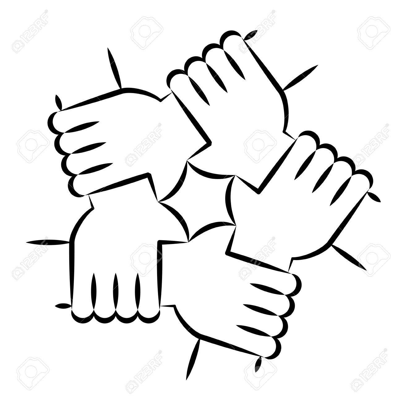 Vector Illustration Of Five Human Hands Holding Eachother For Solidarity And Unity Spon Hum Solidarity Illustration Free Stencils Printables Unity Drawing