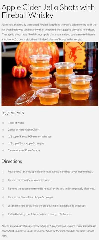 Apple Cider Jello Shots with Fireball Whiskey #halloweenjelloshots