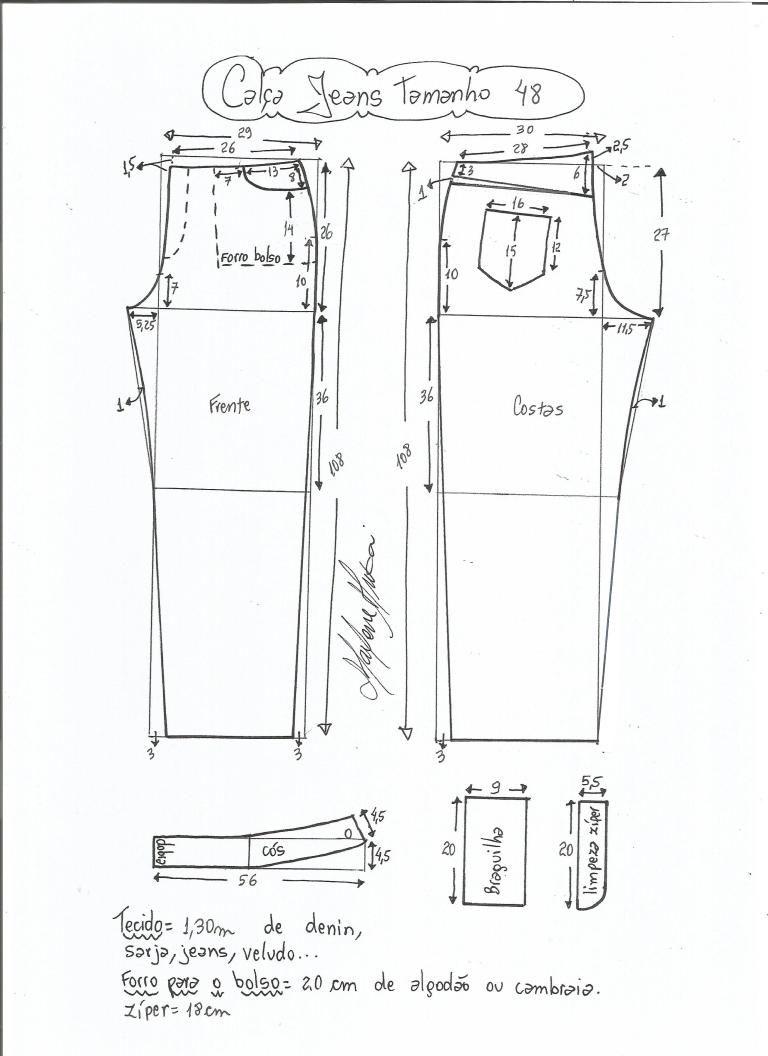 Patrón de pantalones vaqueros | Patrones de Costura | Pinterest ...