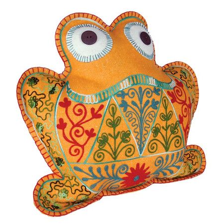 Embroidered felt cushion with a frog silhouette motif in green, orange, and blue.