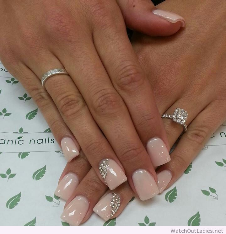 botanic nails simple nude nails with diamonds nails