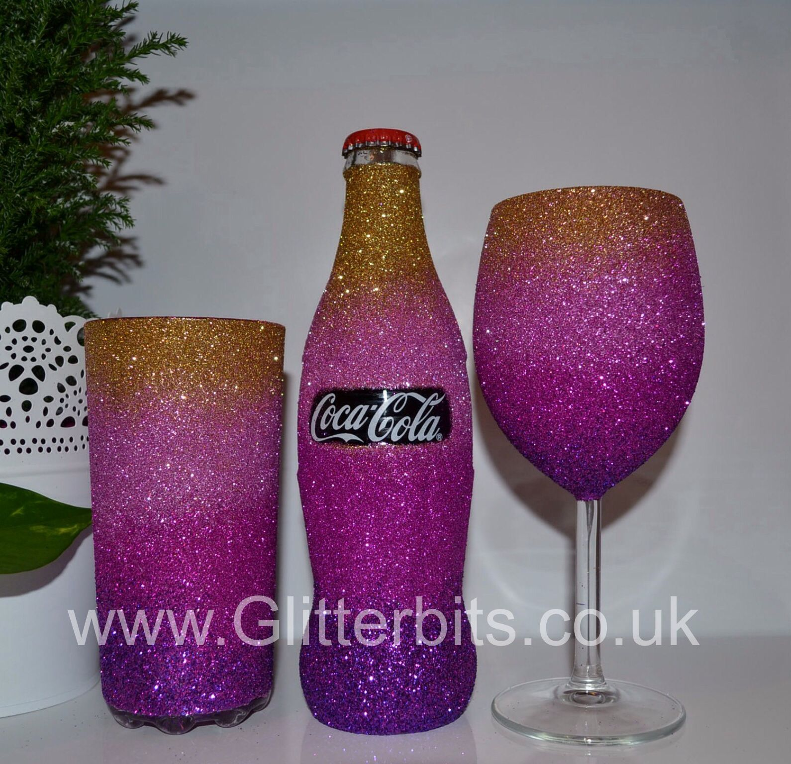 Coca cola gold and pink ombr set with a coca cola for How to glitter wine bottles